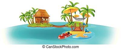 dos, islas, plano de fondo, escena