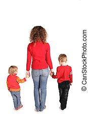 dos, isolé, stand, mère, blanc, enfants
