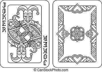 dos, jeu carte, joker, blanc, noir