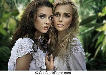 dos, joven, bellezas