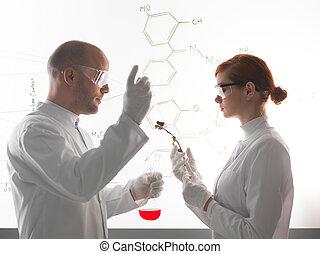 dos, joven, científicos, elaboración, un, químico, experment