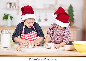 dos, joven, hermanos, hornada, galletas navidad