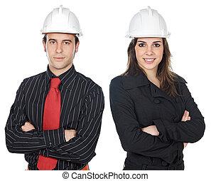 dos, joven, ingenieros