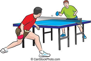 dos, jugadores, juego, tenis de mesa
