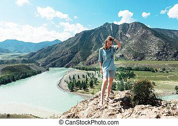 dos, katun, día, altai, mujer, confluencia, montañas, belleza, verano, chuya, ríos