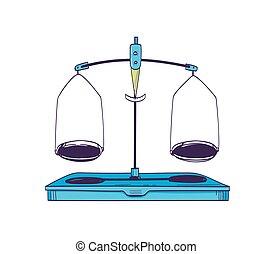 dos, laboratorio, style., escala, fondo., vendimia, aislado, equipo, placas, blanco, equilibrio, medición, pesar, herramienta, laboratorio, ilustración, realista, vector, masa, weight., balance, o