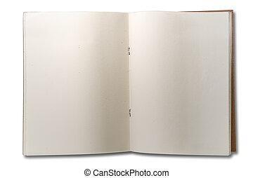 dos, libro nota, blanco, abierto, página