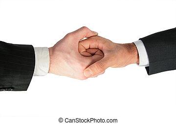 dos, ligado, manos