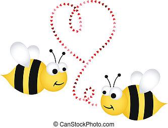 dos, lindo, abejas, enamorado