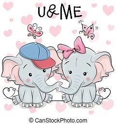 dos, lindo, caricatura, elefantes, y, mariposas