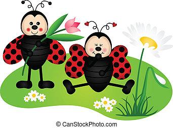 dos, lindo, mariquitas, en, jardín