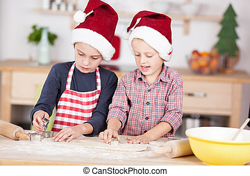dos, lindo, niños, preparando, galletas navidad