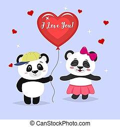 dos, lindo, pandas, estante, el, niño, es, tenencia, un, pelota roja, niña, panda, en, un, rosa, falda, y, con, un, arco, en, caricatura, style.