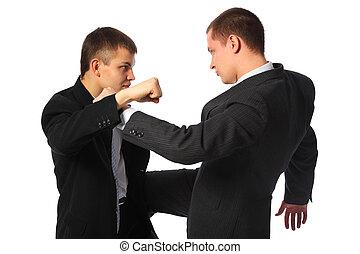 dos, lucha, hombres de negocios