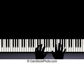 dos, música, manos, piano, juego, juego