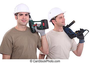 dos, macho, constructor, con, taladros