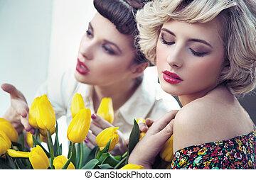 dos, magnífico, flor, ninfas