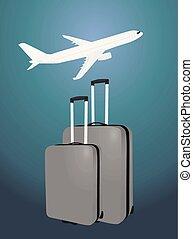 dos, maletas, delante de, avión