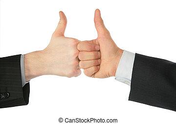 dos manos, con, aprobar, gesto