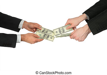 dos manos, con, dólares