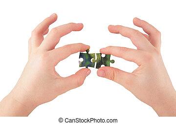 dos manos, con, rompecabezas