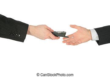 dos manos, con, teléfono