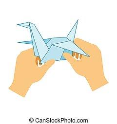 dos manos, hacer, origami, papel, grúa, escuela primaria, clase de arte, vector, ilustración