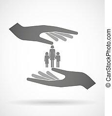 dos manos, proteger, o, dar, un, hembra, padre soltero familia, pictogram