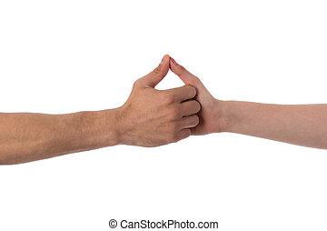 dos manos, sostenerse, aislado, encima, blanco