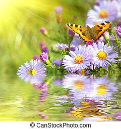 dos, mariposa, en, flores, con, reflexión