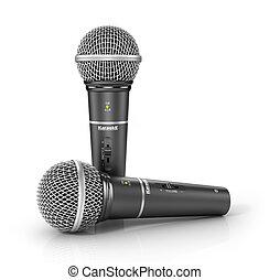 dos, micrófonos, en, un, blanco, fondo., 3d, ilustración