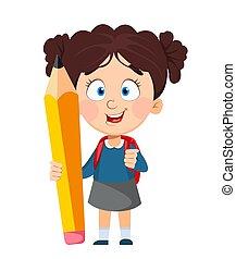 dos, mignon, écolière, school., rucksack