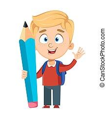 dos, mignon, écolier, school., rucksack