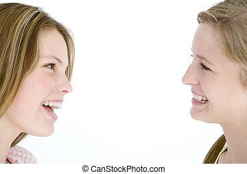 dos, mirar, otro, cada, novias, sonriente