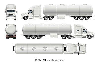 dos, mockup., côté, devant, camion, vue, sommet, véhicule, isolé, réservoir, vecteur, gabarit