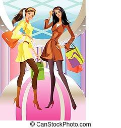 dos, moda, compras, niña, con, bolsa