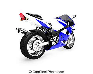 dos, motocyclette, isolé, vue