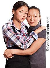 dos, mujer asiática