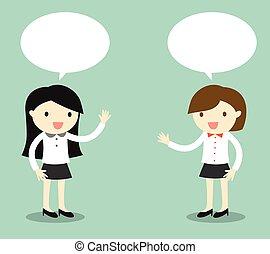 dos, mujeres de la corporación mercantil, hablar.