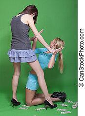 dos mujeres, en, conflicto