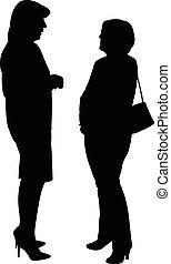 dos mujeres, hablar, uno al otro
