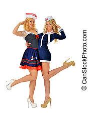 dos, mujeres hermosas, en, carnaval, sexy, trajes, de, seaman.