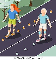 dos, mujeres jóvenes, equitación, en, rodillos