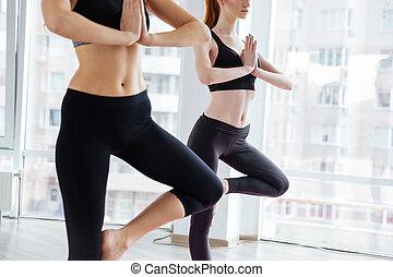 dos mujeres, posición, y, hacer, postura que equilibra, en, estudio del yoga