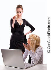 dos mujeres, trabajo encendido, un, computador portatil