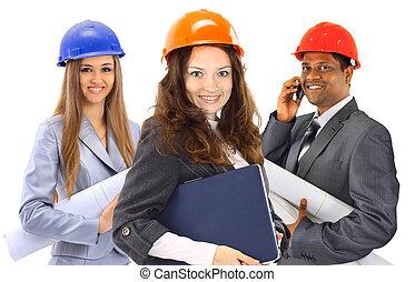dos mujeres, y, un, hombre, arquitecto, equipo