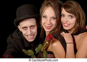 dos mujeres, y, un, hombre, en, disfraz, halloween