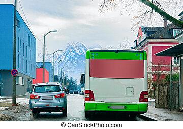 dos, navette, salzbourg, voiture, autobus, route