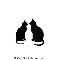 dos, negro, gatos, enamorado