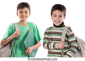 dos niños, estudiantes, regresar a la escuela